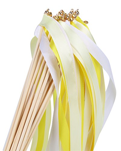 30pcs Ribbon Wands Party Streamers for Wedding Party Activities (Yellow)