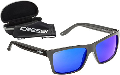 Cressi Unisex-Erwachsener Rio Sunglasses Premium Sport Sonnenbrille Polarisierte 100% UV-Schutz, Brillengestell Schwarz - Blau Linsen, Einheitsgröße