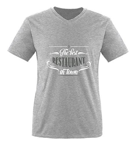 Comedy Shirts - The Best Restaurant in Town - Herren V-Neck T-Shirt - Graumeliert/Weiss-Grau Gr. XXL