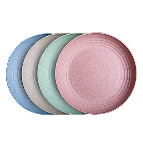 Platos de mermelada irrompibles, 4 platos de paja de trigo ligeros, fáciles de lavar, platos de postre saludables para niños, adultos, aptos para lavavajillas y microondas, 15 x 1,5 cm