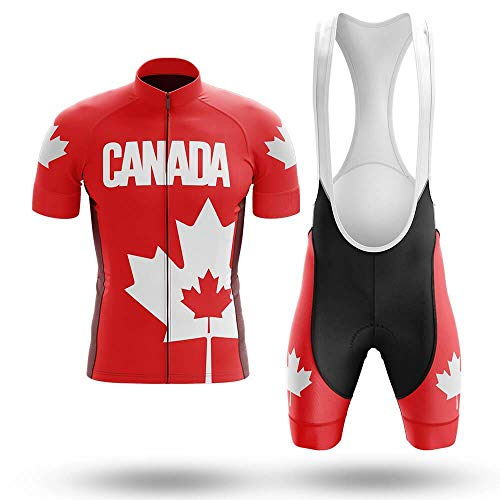 Factory8 - Country Jerseys - Love Your Country! Cycling Jerseys & Sets Collection - Team Canada Emboldened Red Men's Cycling Jersey & Bib Short Set - Red - 5XL