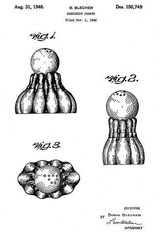 1948 - Salt and Pepper Shaker Bowling Design - B. Blecher - Patent Art Poster