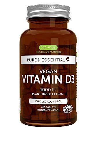 Pure & Essential Vitamina D3 Vegana, 1000 UI Colecalciferol 100% vegetal, 365 comprimidos