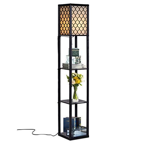 COSTWAY Stehleuchte Regal, Standleuchte Holz, E27 Stehlampe, Moderne Innenbeleuchtung mit 3-Ebenen, Bodenlampe für Schlafzimmer 160x26x26cm