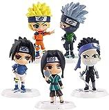 Cheaaff KY Anime Modelo Statuejapan Naruto Sasuke Kakashi Uzumaki Naruto PVC colección de Figuras de acción Mini Modelo de Juguete de Regalo 5 unids / Set 5Cm