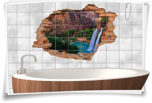 Medianlux Fliesen-Aufkleber-3D Fliesen-Bild Fliesen-Tattoo Fliesen-Sticker Wand-Durchbruch Wasserfall-Bilder Felsen Bucht See Grand-Canyon braun-grün, 120x80cm, 20x20cm (BxH)