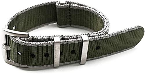 QZMX Correa de reloj de nailon de 20 mm/22 mm, estilo militar, resistente al desgaste, correa de la OTAN para hombres, correa de repuesto (color: borde gris verde, tamaño: 22 mm)