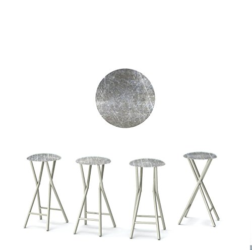 "Best of Times 13169W2407 Grey SCRUBBED Metal 30"" Padded Bar Stools-Set of (4), Black"