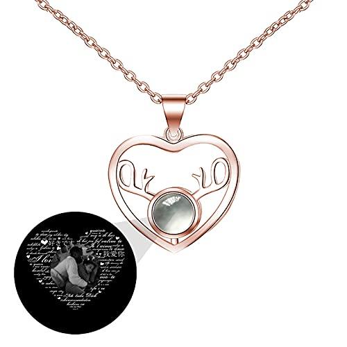 Collar de 100 idiomas Collar de foto personalizado Collar de proyección Colgante de corazón TE QUIERO Collar para mujer(Oro rosa Blanco y negro 20)