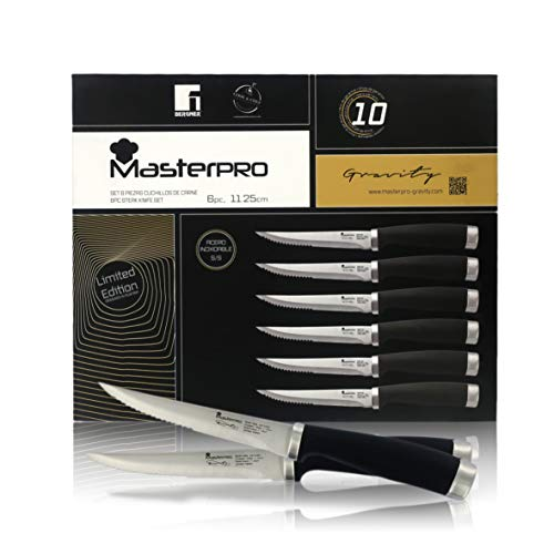 Juego de 6 Cuchillos de Mesa para Carne | Longitud de Hoja: 11,25 Cm | Colección MasterPRO