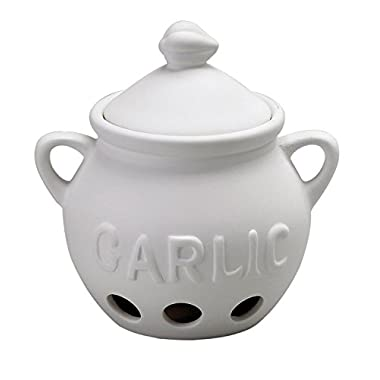 HIC Harold Import Co. Garlic Clove Keeper White Vented Ceramic Storage Container With Lid, 5.25  x 5.5 /16 oz