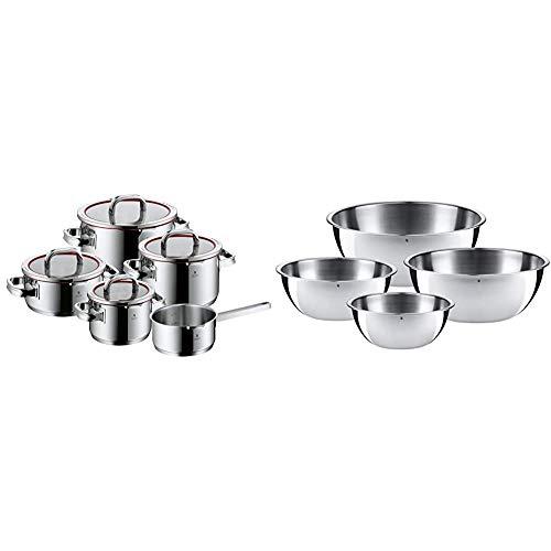 WMF Function 4 - Batería De Cocina, 5 Piezas Acero Inoxidable, Apta Para Todo Tipo De Cocinas Incluso Inducción + Gourmet-Set De 4 Boles, Acero Inoxidable Mate
