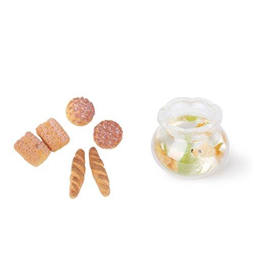 CUTICATE 1/12 Dolls House Miniatures Gold Fish Bowl & 6pcs Bread Bakery Kitchen Decor