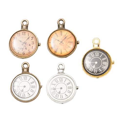 HEALLILY - Dijes para colgantes, relojes de plata antigua, relojes vintage, dijes para joyas, manualidades y accesorios, 15 unidades