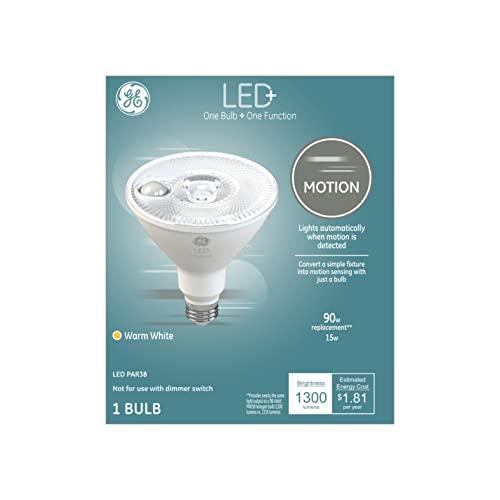 GE Lighting LED+ Motion Sensor Light, PAR38, Outdoor Light Bulb, Warm White, 90-Watt Replacement, Security Lights, Motion Detecting, 1-Pack