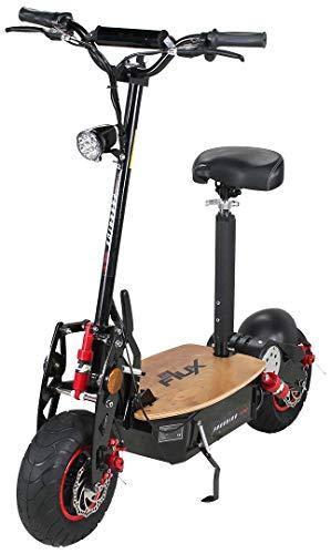 E-Flux–Monopattino elettrico, modello Freeride PRO, 1600Watt, 48V, con luce e ruota libera 13x5–6,pneumatici extra grandi, predellino in legno, monopattino elettrico, edizione esclusiva.