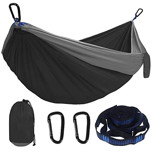 XIAOQIAO Hammock Double Single Lightweight Hammock with Hanging Ropes for Backpacking Hiking Travel Beach Garden (Color : Black fight gray)