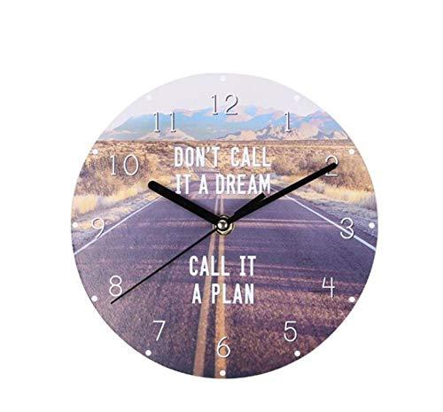 DBQRS7 Horloge Murale 20 Cm Européenne Creative en Bois Horloge Murale Maison Salon Décoratif Horloge Murale Chambre Silencieux Siège Horloge Moderne Impression Montre