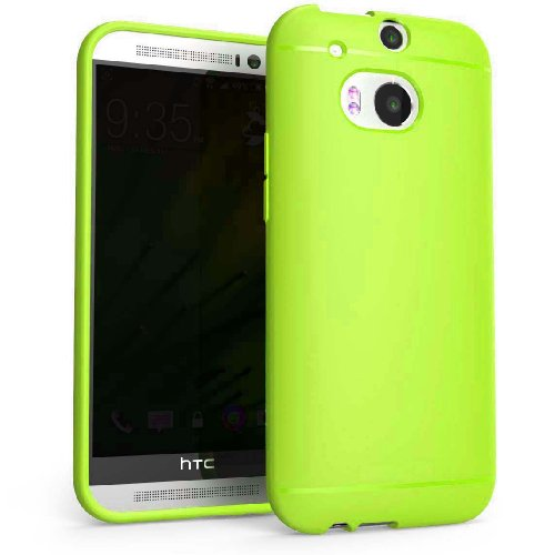 Chivel (TM) Premium Slim Fit Soft TPU Protector Case for NEW HTC One Smartphone (M8, Neon Green)