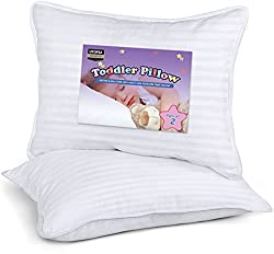 Image of Utopia Bedding 2 Pack Toddler Pillow - Baby Pillows for Sleeping - Cotton Blend Cover - Pack of 2 Kids Pillows - White - 13 x 18 Inches: Bestviewsreviews