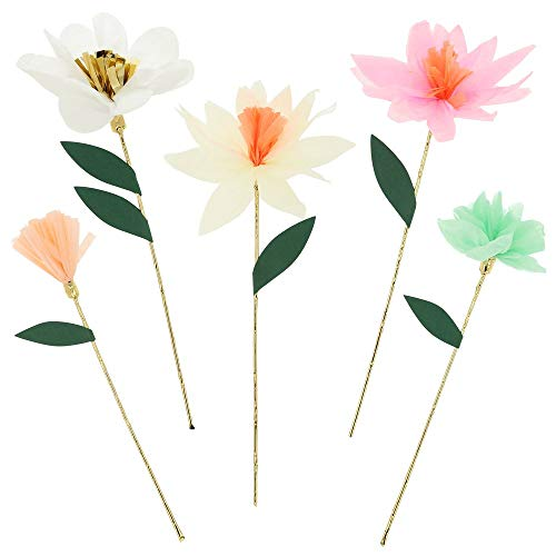 Meri Meri Paper Flowers - 10 Pack Pastel And Gold Decorations