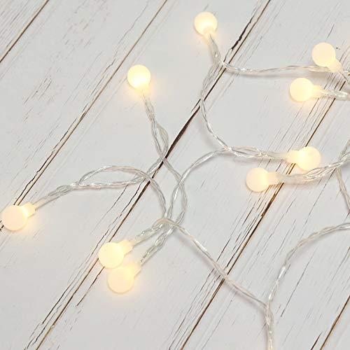 Edaygo LED Lichterkette Glühbirne batteriebetrieben Innen Außen Beleuchtung Dekoration Dekoleuchten, 40 LEDs, warmweiß