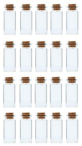 ZADAWERK® Mini-Glasflaschen mit Korken - 10 ml - Ø 22x50 mm - 20 Stück - Deko