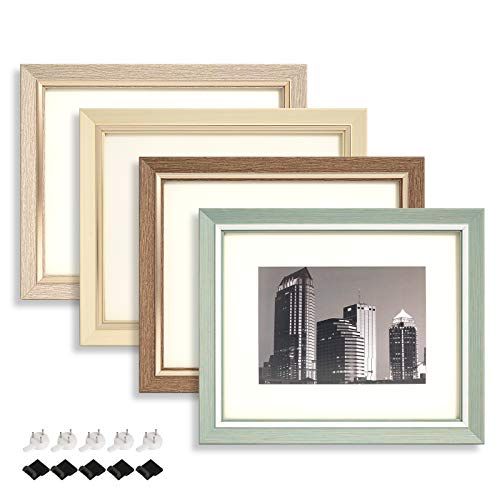SACHUKOT 8x10 inch Photo Picture Frame Set of 4 with mat for Tabletop Display or Wall Mount Light Yellow Apricot White Rustic Brown Emerald Green