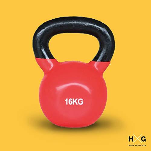 JOWY Pesa Rusa de Ejercicio Kettlebell 8kg, 12kg Y 16kg Ideal para Entranamiento de Musculación Crosstraining | Revestimiento de Vinilo Colores Amarillo, Rojo y Azul