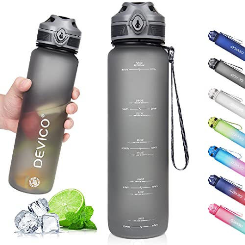 DEVICO 32oz Water Bottle with Time Marker, BPA...