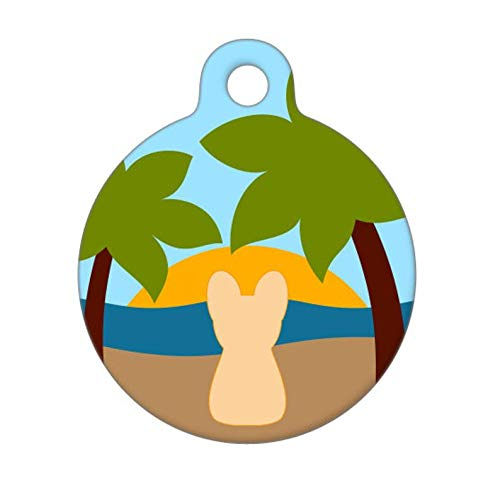 yyone Funny Pet Tags,Personalized Dog ID Tag,Tropical Beach Dog - Frenchie,Personalized Pet tag,Round Dog Tag
