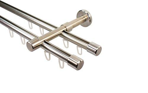 iso-design Edelstahl Optik Innenlauf Gardinenstange 2-läufig 16 mm mit Endstück Kappe, 160 cm