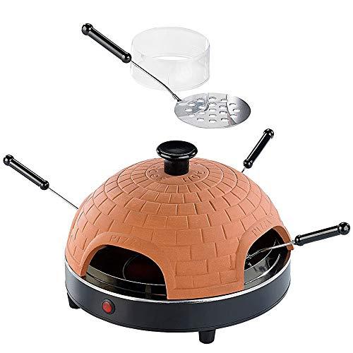 Monsterzeug Pizza Raclette Ofen, Elektrischer Mini-Ofen, Mobiler Steinofen für Zuhause, Inkl. Pizza-Pfännchen mit wärmeisolierten Griffen