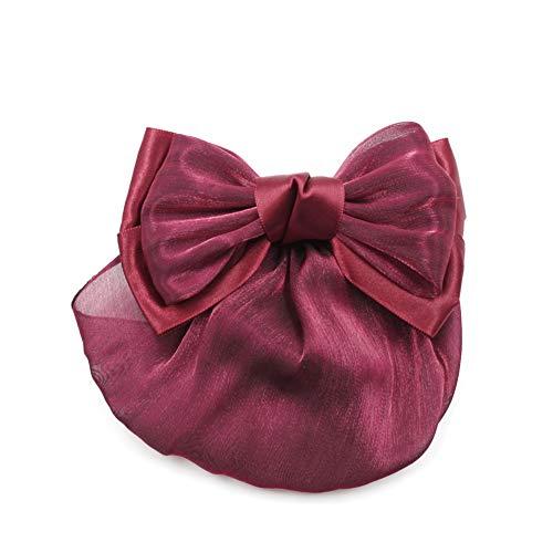 rougecaramel - Barrette cheveux noeud satin avec filet résille bordeaux