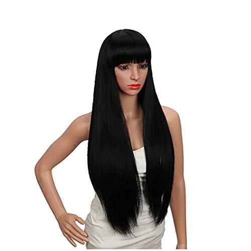 SWDCA 28'Peluca sintética Recta Negra, Peluca Larga de la Moda, se Puede Usar como Pelucas de Disfraces para una Fiesta de Disfraces de Lujo