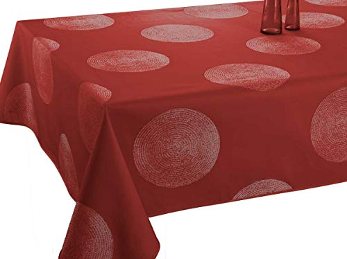 Le linge de Jules Mantel Antimanchas Cercles Rojo - tamaño : Rectangular 150x300 cm