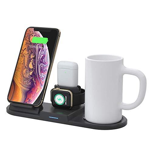 MUYIER Wireless-Ladegerät, 5-15W Multifunktionale Wireless Charging Und 55 ° C Smart-Thermostat Tasse Geeignet Für iPhone 11.11 Pro/X/XR/Xs / 8 Plus / Airpods1 2
