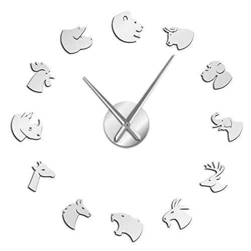 YQMJLF Reloj Pared DIY 3D Grande Animales terrestres Cara acrílico Simple DIY Reloj de Pared León Tigre Elefante Caballo Cabezas de Animales Cuarzo Efecto Espejo Pegatina Reloj Reloj Plata
