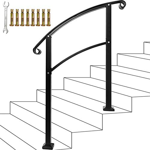 Handrail Industrial Pipe Matte Black Stair Railing Safety Hand Rail Support Bar Antique Rustic Cast Iron Handrail Supports 200kg Complete Kit Size : 1ft 1ft-20ft