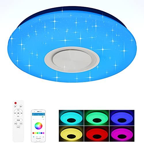 XDHEK Plafonnier LED ,Plafonnier LED Musique,Lampes De Plafond 24w Avec Hautparleur Bluetooth Télécommande APP Lampe Musicale, Couleur Luminosité Réglable (RGB)