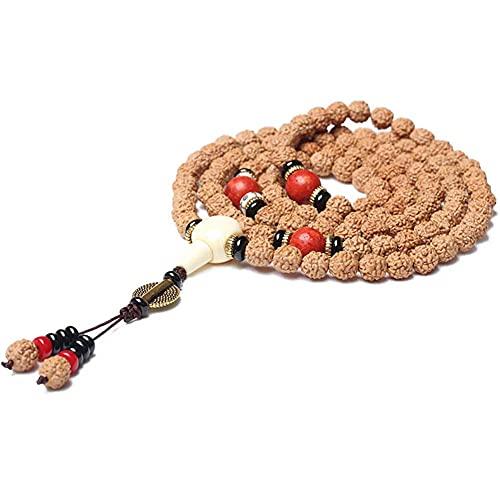 cakunmik 108 Beads Pulsera, Yoga Madera Pulsera Pulsera Collar Budista Oración Unique Textura Festival Regalo