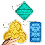 3Pack Push Popper Fidget Toy Set, Mini Sensory Simple Dimple Fidget Toy Keychain Cheap, B_ubble Wrap Pop Anxiety Stress Reliever, Sensory Irritability Tool for Autism to Relieve Stress for Kids&Adults