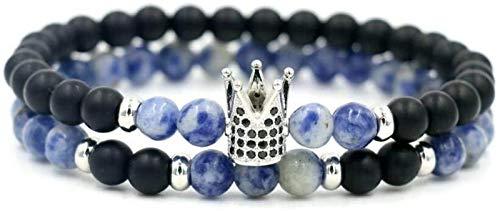 SUCICI Pulsera de Piedra Mujer, 7 Chakra Natural Blue Tourmaline Beads Helada Piedra Elástica Bangle Plata Crown Joyería Yoga Energía Encanto Difusor Mujer Pulsera Regalo