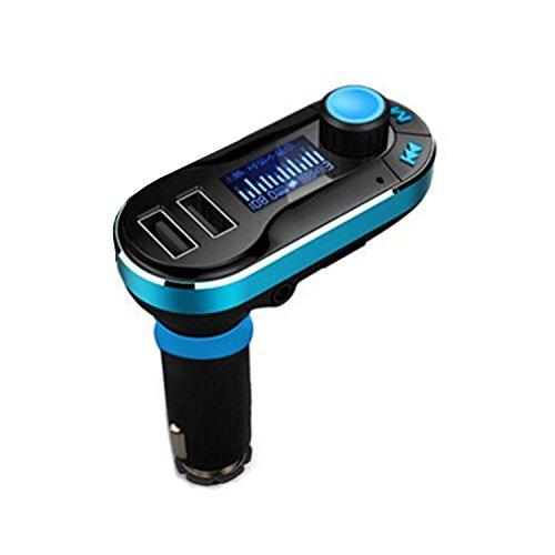 COOSA Trasmettitore FM Bluetooth per Auto Veicoli Lettore Musica con Doppia Porta USB di Ricarica, Microfono Incorporato, Lettura Carta + Ingresso AUX, Controllo Musicale e Vivavoce per iPhone6 / 6plus / 6S / 6S Plus / 5s / 5c cellulari Samsung Tablet Miglior kit multifunzionale senza fili Bluetooth vivavoce per auto / adattatore trasmettitore FM / Calling / MP3, due porte USB per telefoni cellulari di alimentazione / carica della batteria (457, 1 blu)