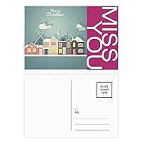 クリスマス・フェスティバルのイラスト ポストカードセットサンクスカード郵送側20個ミス
