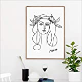 yaoxingfu Sin Marco Picasso Poster Modern Minimalist Female Art Picasso Girl Face Sketch Sketch ng, Pablo Picasso Art Woman Sketch Prints 50x70cm