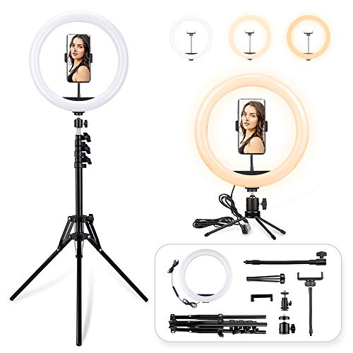 LED Ring Light with Tripod Stand, 12 inch Dimmable Live Light Kit, 3 Color Modes and 10 Brightness,...