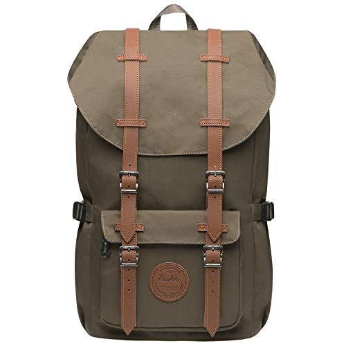 KAUKKO Vintage Rucksack Damen Herren mit Laptopfach für 14 Zoll für Business Wandern Reisen Camping, 19.7 L, 28 * 15 * 47 cm (Armee Grün JNL-EP5-11-08)