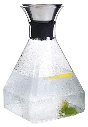Tetera de Vidrio Tetera Hervidor de Agua Jarra de Agua Jarra de Tetera de Vidrio con Tapa Mango Helado Jarra de Vidrio de borosilicato Resistente al Calor para té (Tamaño: 1400 ml)
