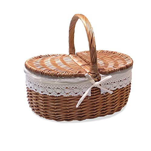 Rurality Wicker Picnic Basket with Lid and Handle Sturdy Woven Body with Washable Liner